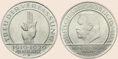 Münzkatalog Online 3 Reichsmark 1929 10 Jahre Weimarer Verfassung