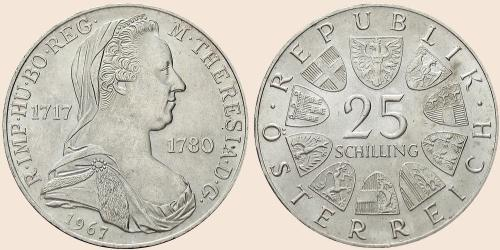 Münzkatalog Online 25 Schilling 1967 Maria Theresientaler