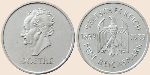 Münzkatalog Online 5 Reichsmark 1932 100 Todestag Von Johann