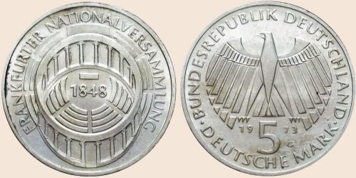 Münzkatalog Online 5 Deutsche Mark 1973 125 Wiederkehr Der