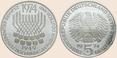 Münzkatalog Online 5 Deutsche Mark 1974 25 Jahrestag Des