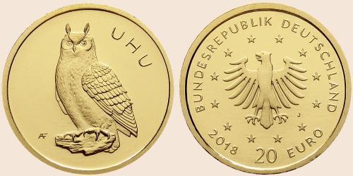 Münzkatalog Online 20 Euro 2018 Heimische Vögel Uhu