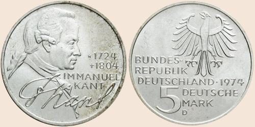Münzkatalog Online 5 Deutsche Mark 1974 250 Geburtstag Von
